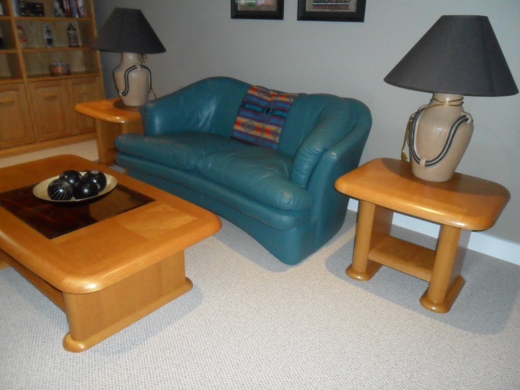 Light Oak Matching Coffee Table And Two End Tables In