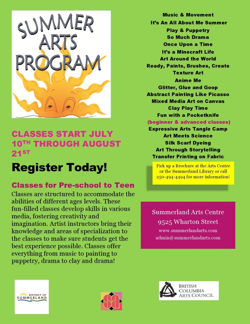 Summer Arts Program for Kids in Penticton, BC 【 Skaha ca 】